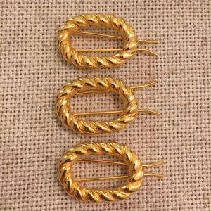 3 Vintage Braided Goldtone Hair Clips Barrettes
